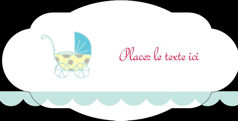 Poussette pour bébé avec tons bleus  Étiquettes ovales festonnées - gabarit prédéfini. <br/>Utilisez notre logiciel Avery Design & Print Online pour personnaliser facilement la conception.
