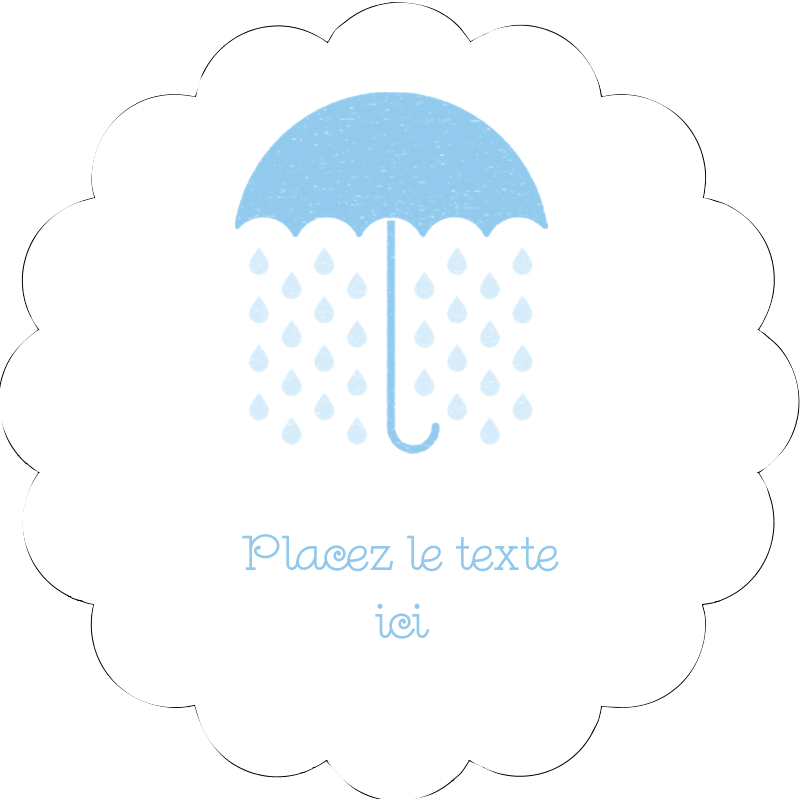 """2"""" Diameter Étiquettes festonnées - Parapluie pour bébé"""