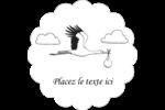 Cigogne et bébé d'antan Étiquettes festonnées - gabarit prédéfini. <br/>Utilisez notre logiciel Avery Design & Print Online pour personnaliser facilement la conception.