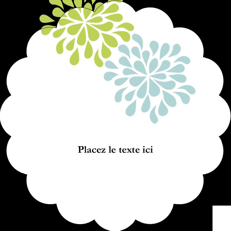 """2"""" Diameter Étiquettes festonnées - Fleurs bleues et vertes"""