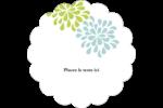 Fleurs bleues et vertes Étiquettes festonnées - gabarit prédéfini. <br/>Utilisez notre logiciel Avery Design & Print Online pour personnaliser facilement la conception.