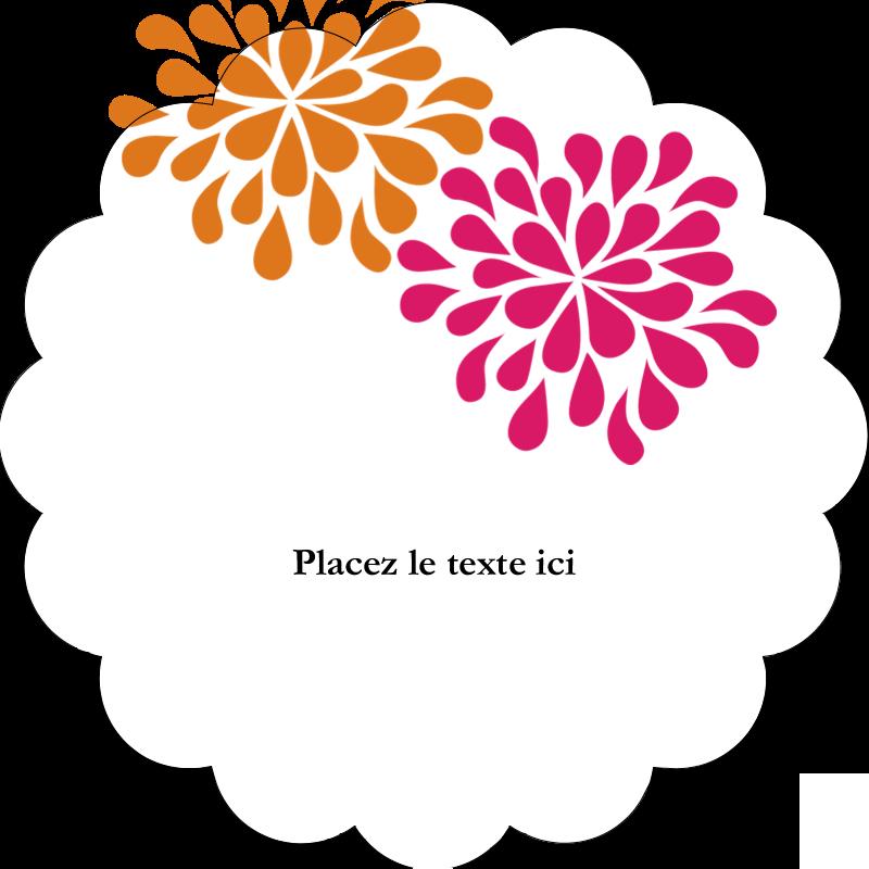 """2"""" Diameter Étiquettes festonnées - Fête prénuptiale en rose et orange"""