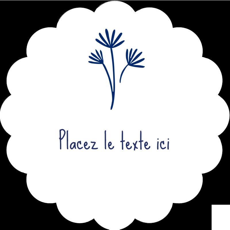 """2"""" Diameter Étiquettes festonnées - Petit bouquet bleu"""