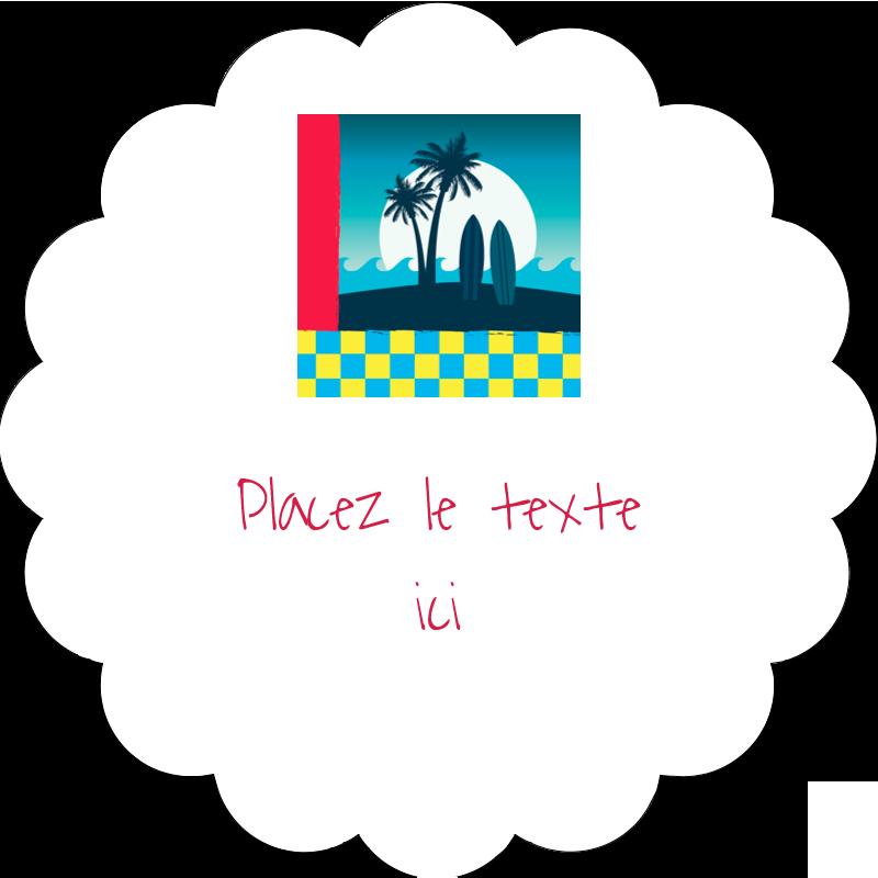 """2"""" Diameter Étiquettes festonnées - Surf tropical"""
