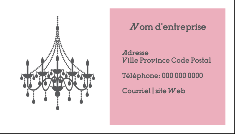"2"" x 3½"" Carte d'affaire - Chandelier"