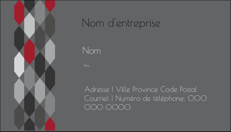 """2"""" x 3½"""" Carte d'affaire - Hexagone rouge"""