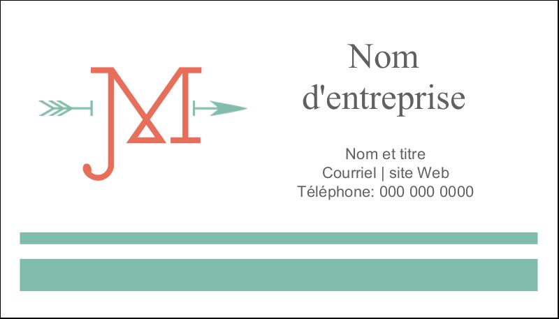 """2"""" x 3½"""" Carte d'affaire - Monogramme"""