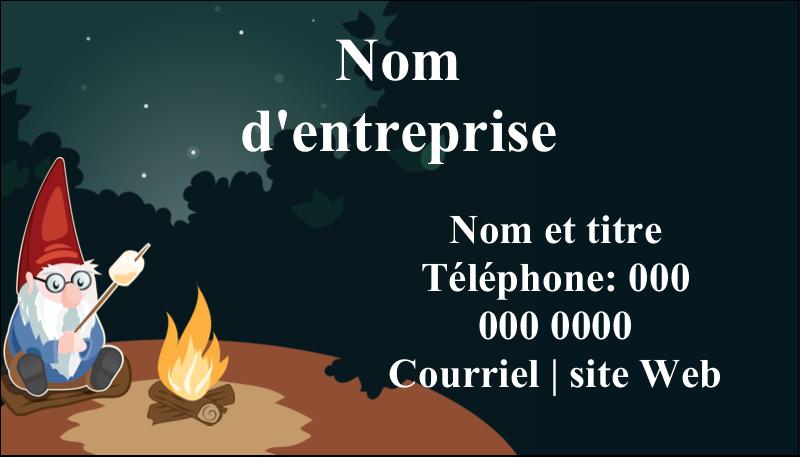 """2"""" x 3½"""" Carte d'affaire - Gnome en camping"""