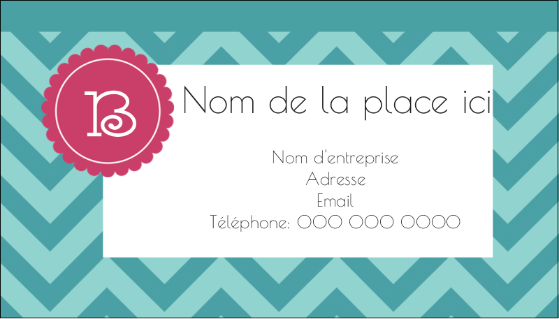 "2"" x 3½"" Carte d'affaire - Monogramme en chevron"