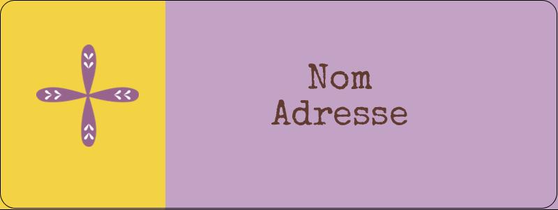 """⅔"""" x 1¾"""" Étiquettes D'Adresse - Lavande géométrique"""