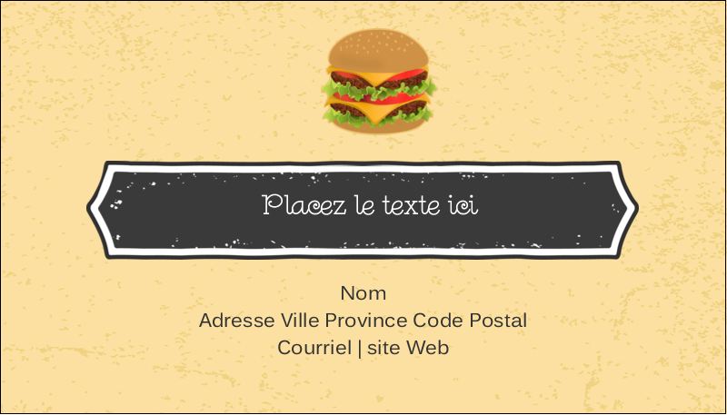 "2"" x 3½"" Carte d'affaire - Hamburger"