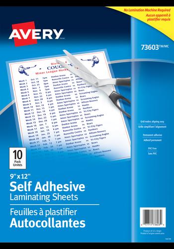 Avery<sup>®</sup> Self Adhesive Laminating Sheets - Avery<sup>®</sup> Self Adhesive Laminating Sheets