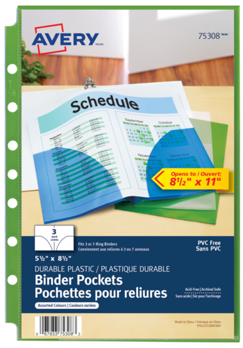 Avery<sup>®</sup> Binder Pockets - Avery<sup>®</sup> Binder Pockets