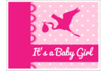 It's a GIRL! Here comes a little bundle  baby pink-infused stork silhouette atop a plaid blue background