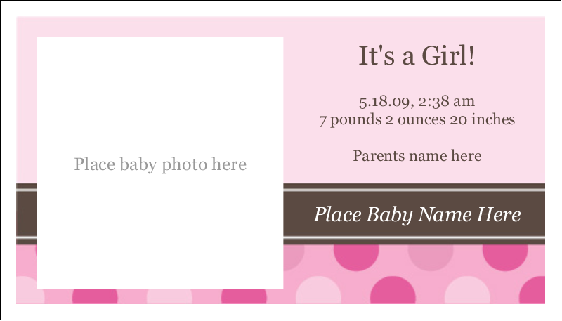 """2"""" x 3½"""" Business Card - Baby Dots Girl"""