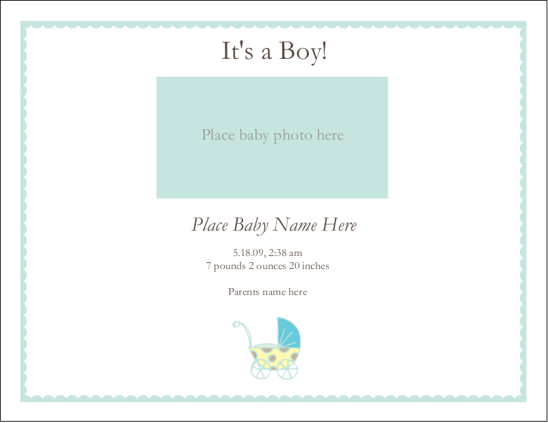 "5½"" x 4¼"" Note Card - Baby Stroller Blue"