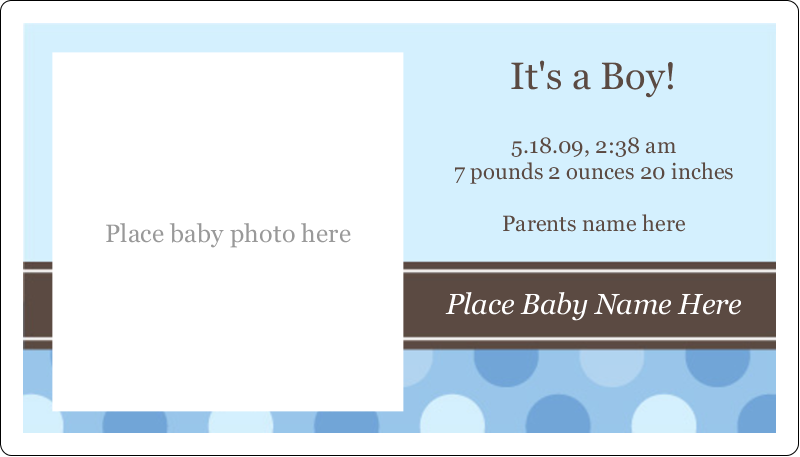 "2"" x 3½"" Business Card - Baby Dots Boy"