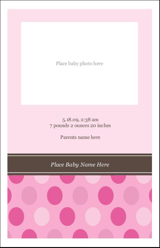 """5"""" x 8½"""" Half Fold Card - Baby Dots Girl"""
