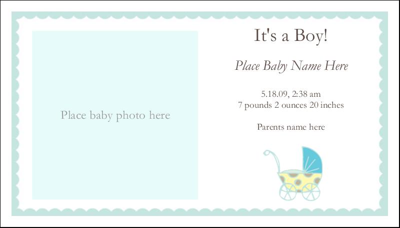 "2"" x 3½"" Business Card - Baby Stroller Blue"