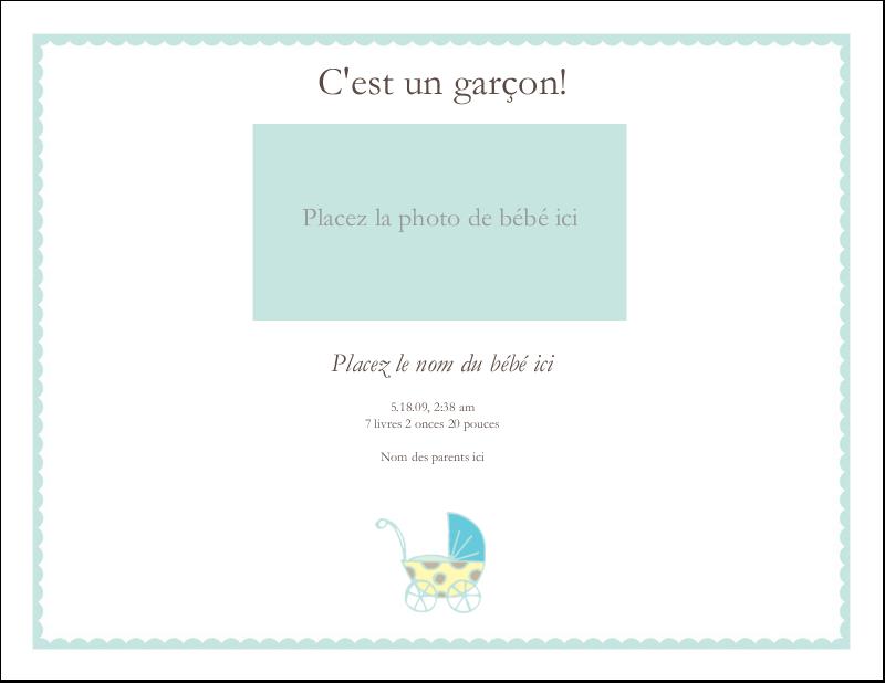 """4¼"""" x 5½"""" Cartes de notes - Poussette pour bébé avec tons bleus"""