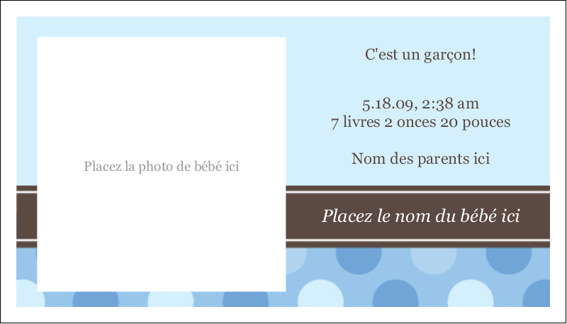 """2"""" x 3½"""" Cartes d'affaires - Bébé garçon à petits pois"""