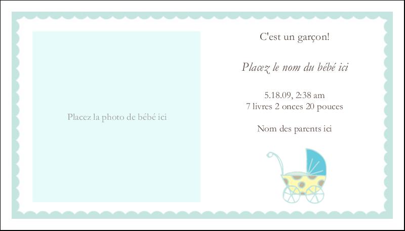 """2"""" x 3½"""" Cartes d'affaires - Poussette pour bébé avec tons bleus"""