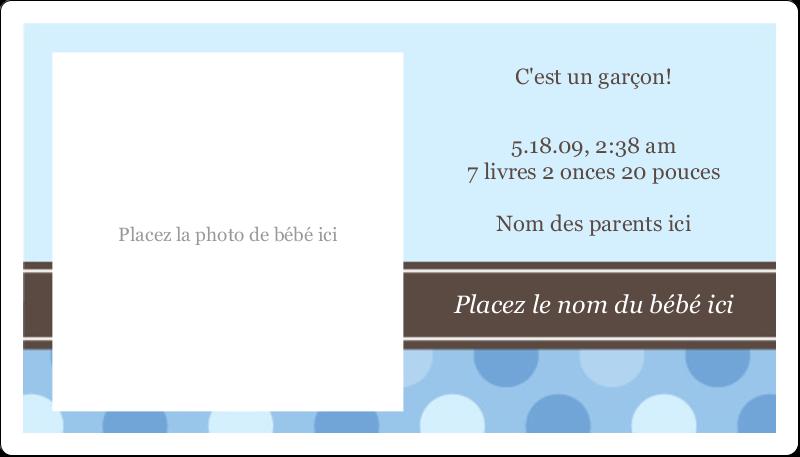 """2"""" x 3½"""" Carte d'affaire - Bébé garçon à petits pois"""