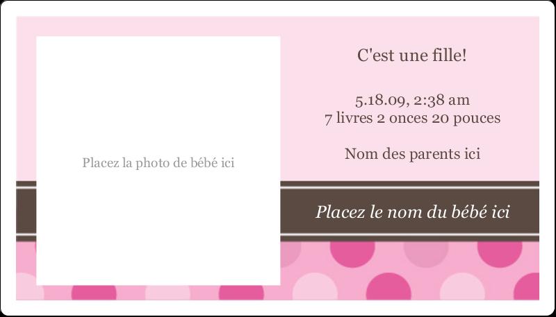 """2"""" x 3½"""" Carte d'affaire - Bébé fille à petits pois"""