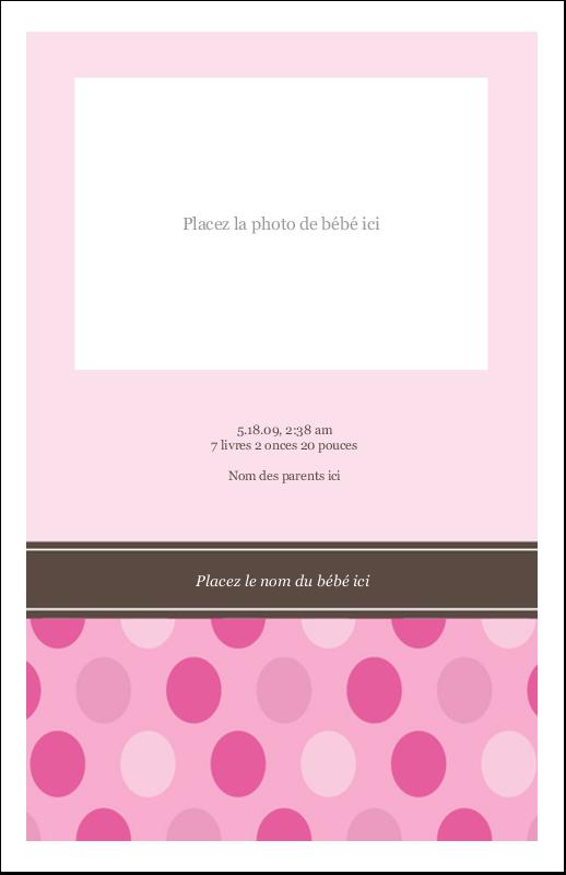 """8½"""" x 5"""" Cartes Et Articles D'Artisanat Imprimables - Bébé fille à petits pois"""
