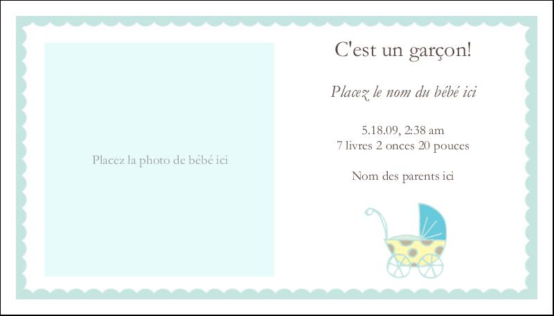 """2"""" x 3½"""" Carte d'affaire - Poussette pour bébé avec tons bleus"""