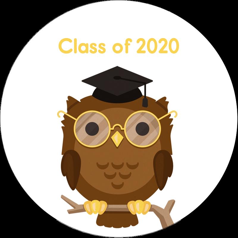 "2"" Round Label - Academic Owl Graduation"