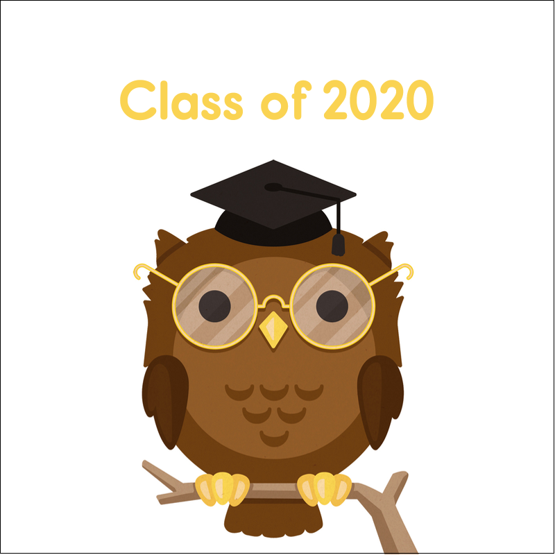 "2"" x 2"" Square Label - Academic Owl Graduation"