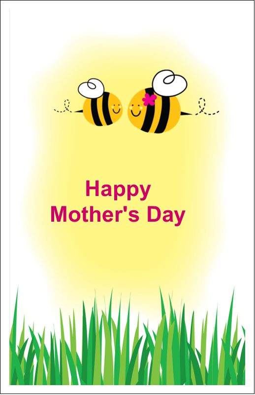 "5"" x 8½"" Half Fold Card - Mother Bees"