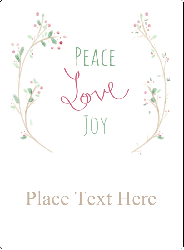 "4¾"" x 3½"" Rectangular Label - Peace Love Joy"