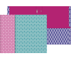Three Pattern Pop Paper Folders with Prongs in purple, pink and turquoise
