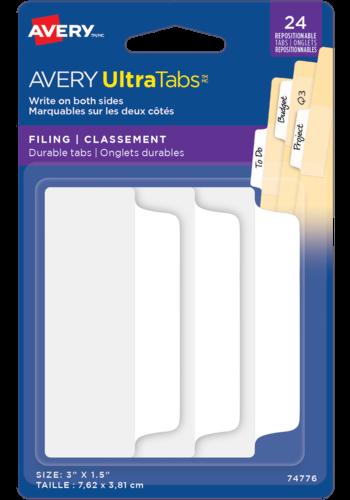 Avery UltraTabs<sup>MC</sup> Onglets de Classement 3po x 1½po Blanc - Avery UltraTabs<sup>MC</sup> Onglets de Classement