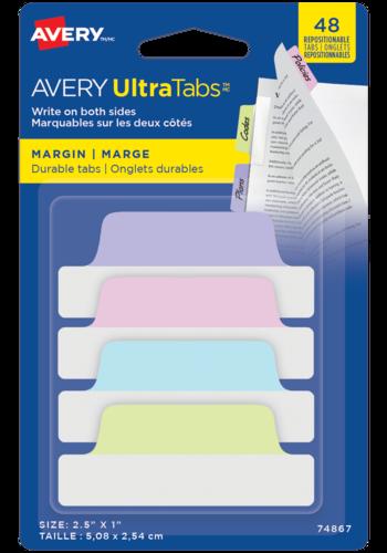 Avery UltraTabs<sup>MC</sup> Onglets de Marge 2½po x 1po Couleurs pastel - Avery UltraTabs<sup>MC</sup> Onglets de Marge
