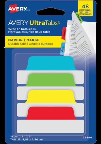Avery UltraTabs<sup>MC</sup> Onglets de Marge 2½po x 1po Couleurs primaires - Avery UltraTabs<sup>MC</sup> Onlgets de Marge