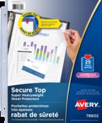 Avery<sup>®</sup> Pochettes protectrices avec rabat de sécurité sans acide 78602