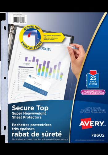 Avery<sup>®</sup> Pochettes protectrices avec rabat de sécurité sans acide - Avery<sup>®</sup> Pochettes protectrices
