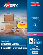 Avery<sup>®</sup> Shipping Labels with TrueBlock™ Technology 5163