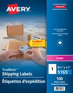 Avery<sup>®</sup> Étiquettes d'expédition avec Technologie TrueBlock<sup>MC</sup> pour imprimantes à laser 5165