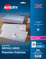 Avery<sup>®</sup> Étiquettes d'adresse avec Easy Peel<sup>®</sup> pour imprimantes à laser 5261