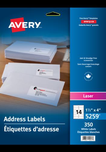Avery<sup>®</sup> Étiquettes d'adresse pour imprimantes à laser - Avery<sup>®</sup> Étiquettes d'adresse