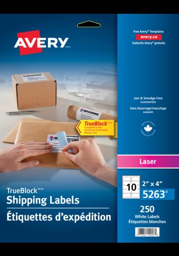 Avery<sup>®</sup> Étiquettes d'expédition avec Technologie TrueBlock<sup>MC</sup> pour imprimantes à laser - Avery<sup>®</sup> Étiquettes d'expédition