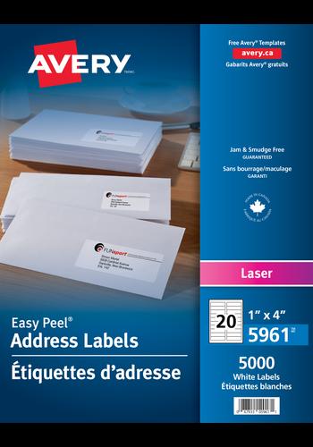 Avery<sup>®</sup> Étiquettes d'adresse avec Easy Peel<sup>®</sup> pour imprimantes à laser - Avery<sup>®</sup> Étiquettes d'adresse