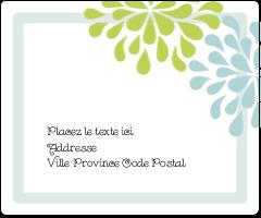 """3⅓"""" x 4"""" Étiquettes d'expédition - Fleurs bleues et vertes"""