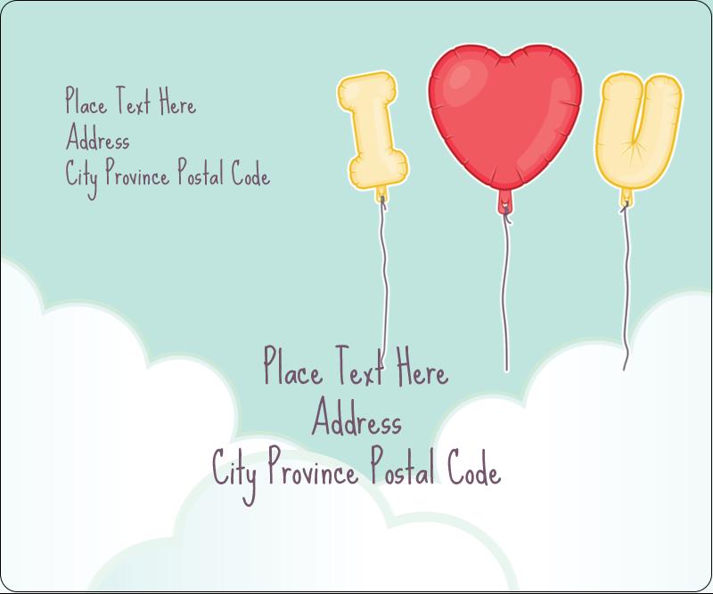 "3⅓"" x 4"" Shipping Label - Valentine Balloon Love"