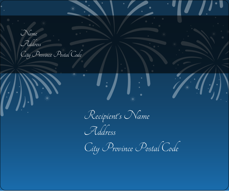 """3⅓"""" x 4"""" Shipping Label - New Year Blue Fireworks"""