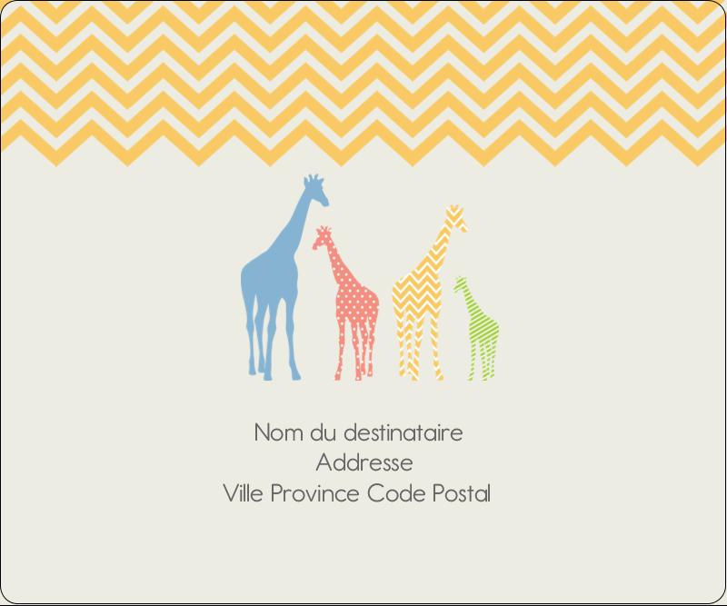 """3⅓"""" x 4"""" Étiquettes d'expédition - Girafe en fête"""
